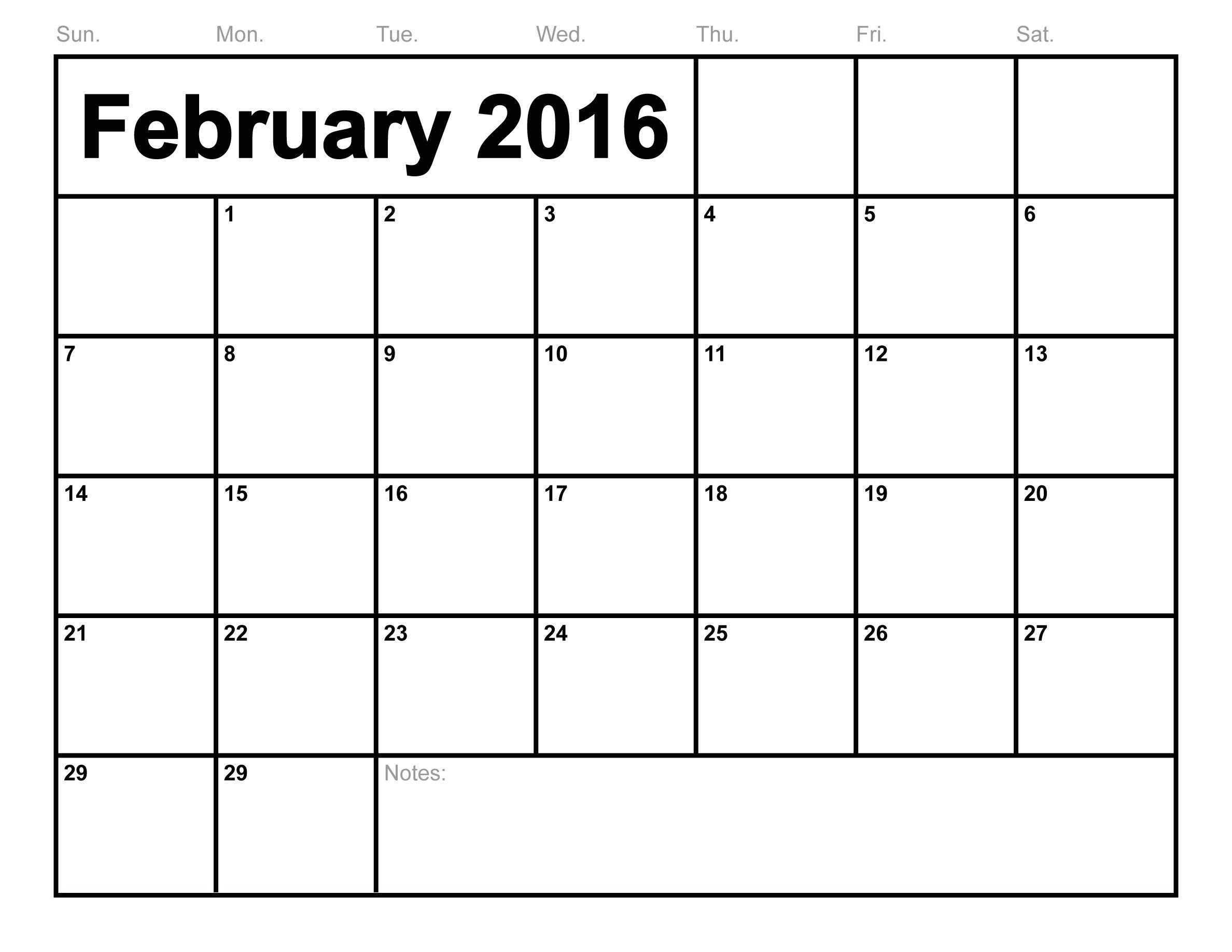 Free Printable calendar February 2016