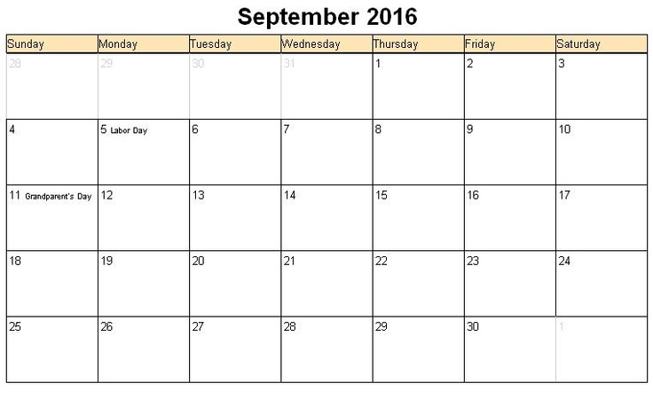 Printable calendar for September 2016