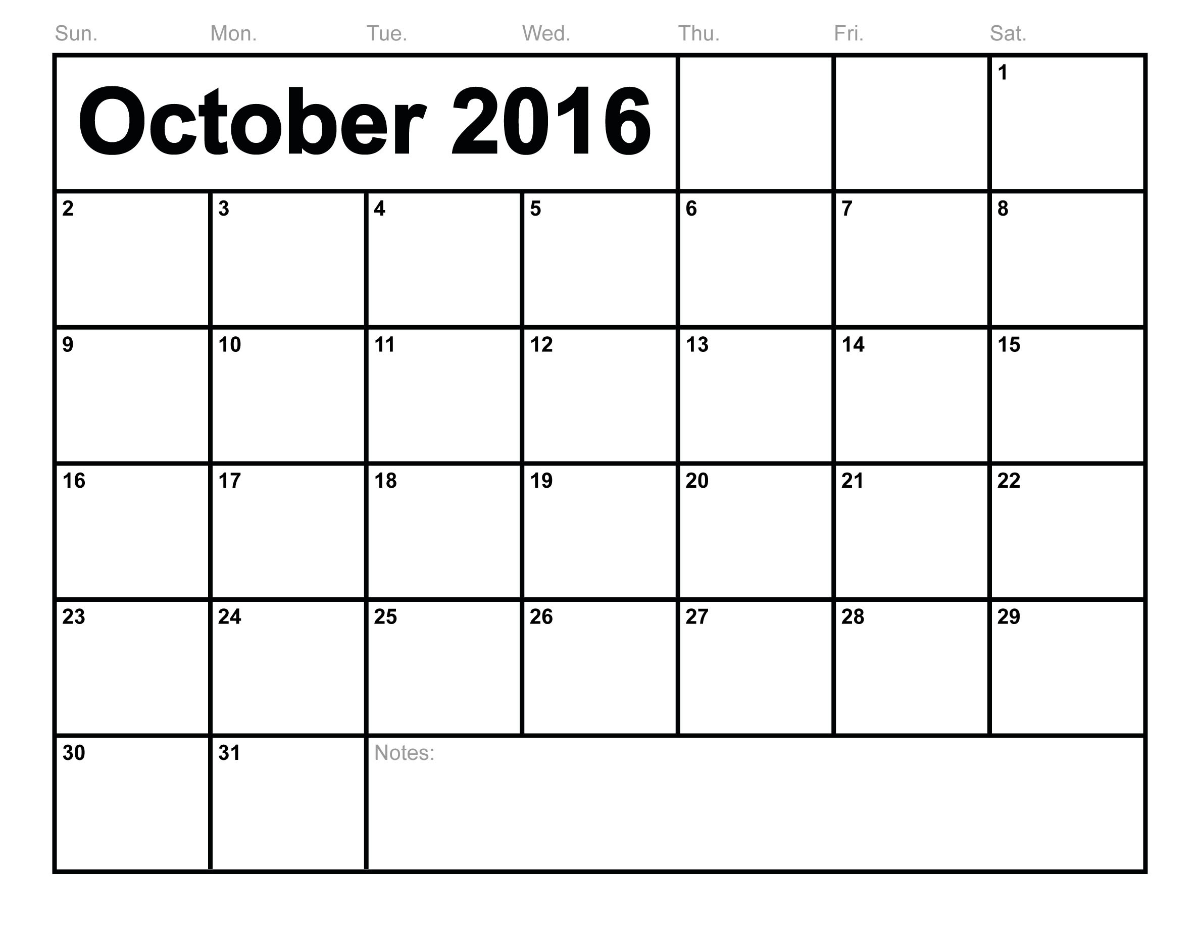 October 2016 Printable Calendar Printable Calendar Templates