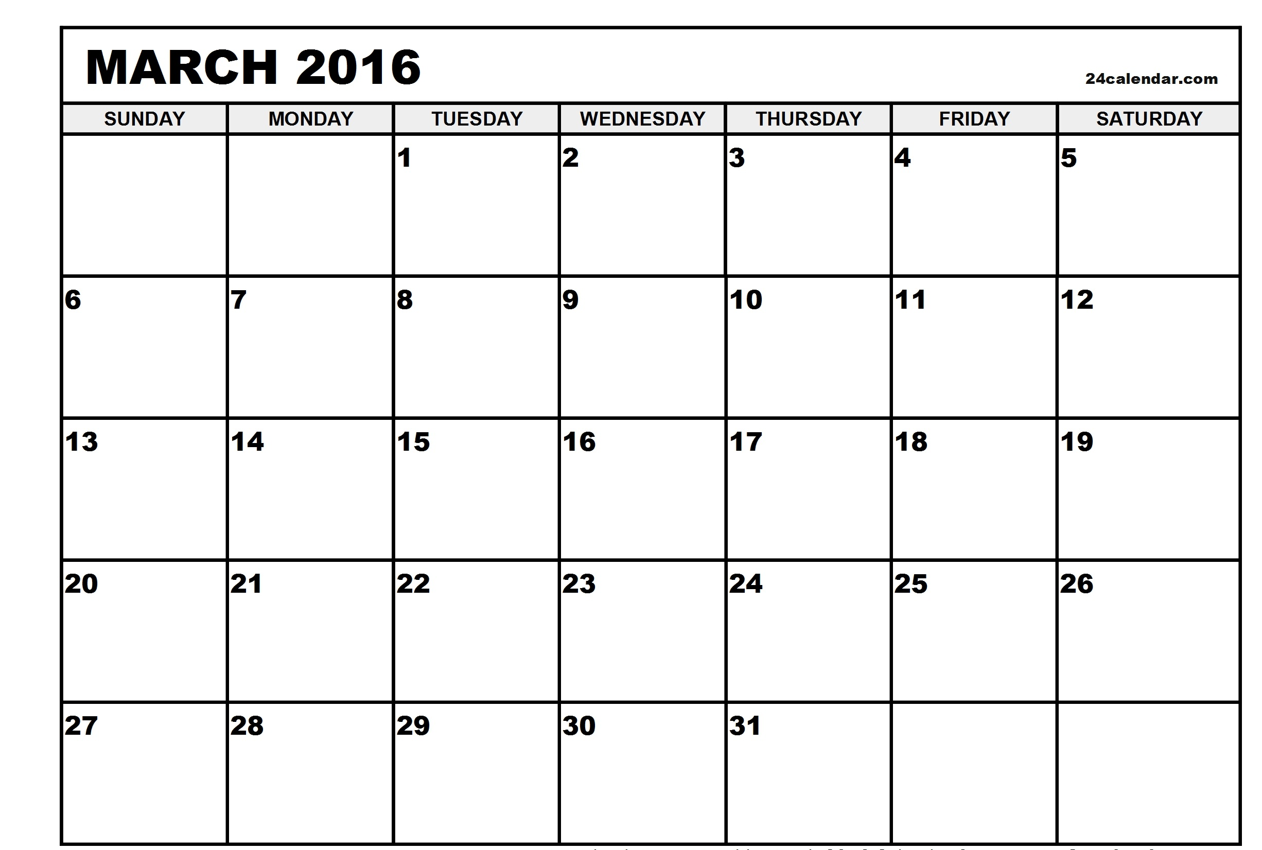 March 2016 Printable calendar | Printable Calendar Templates