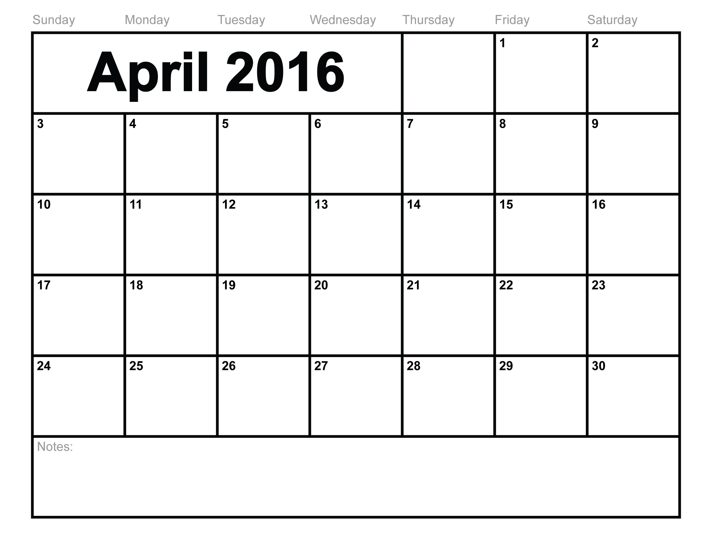 Blank Calendar Template April : April printable calendar templates