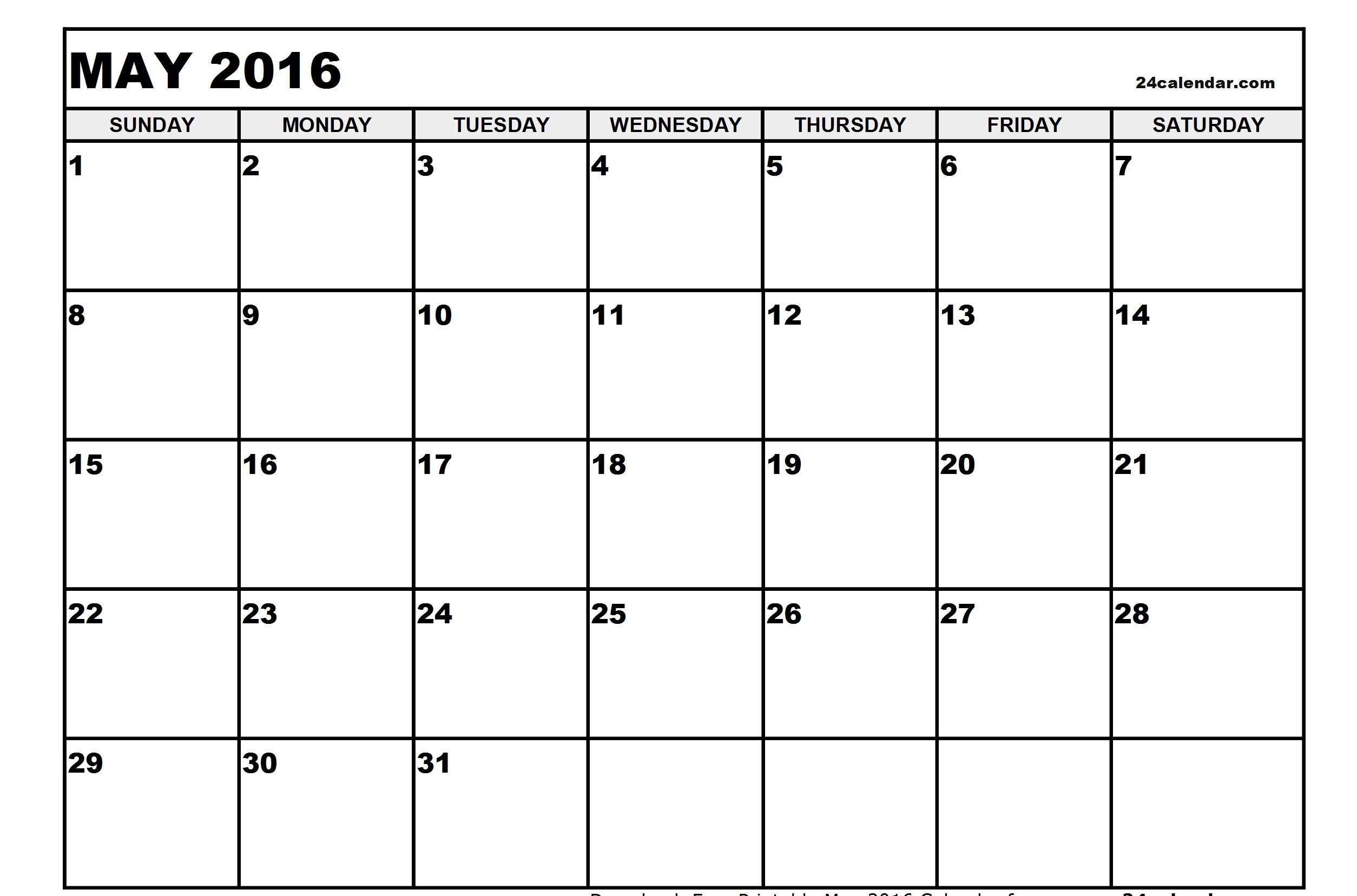 May 2016 Printable calendar | Printable Calendar Templates