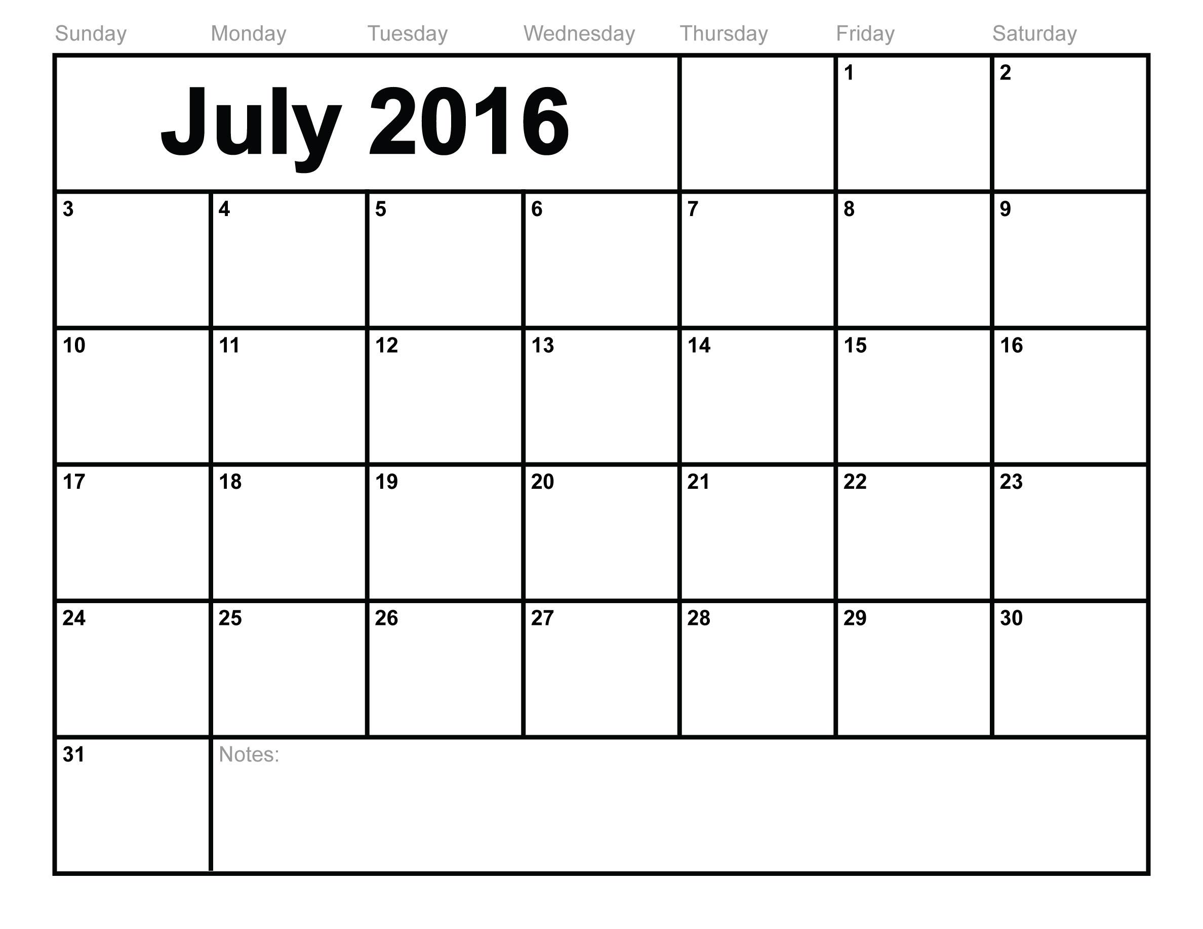 Free July 2016 Printable calendar