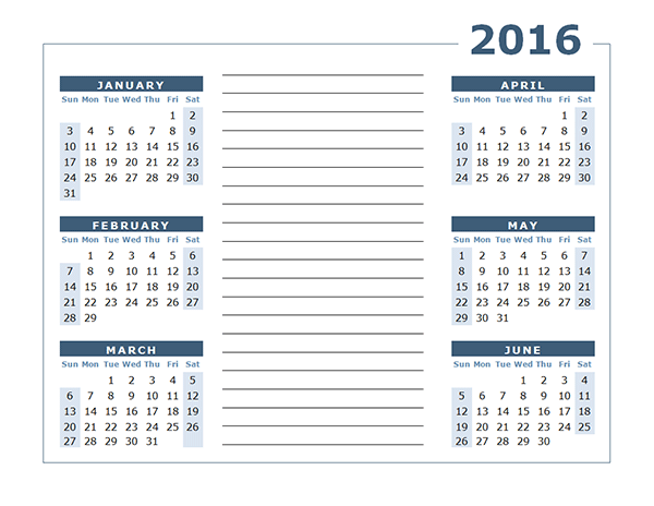 Printable calendar 2016 monthly