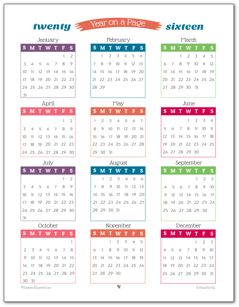 Year Calendar On Page : Printable calendars calendar templates