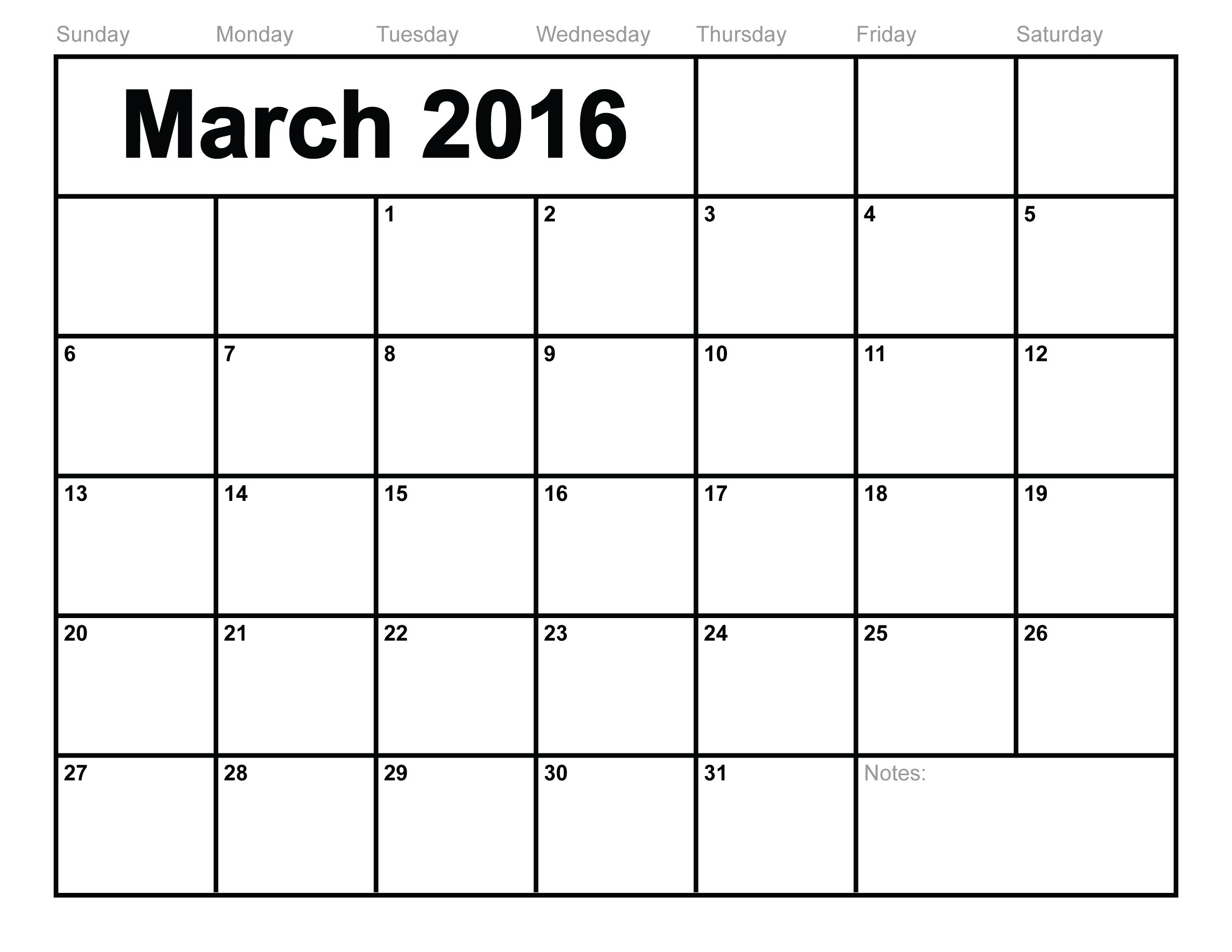 Printable Calendar For March 2016 | Printable Calendar Templates