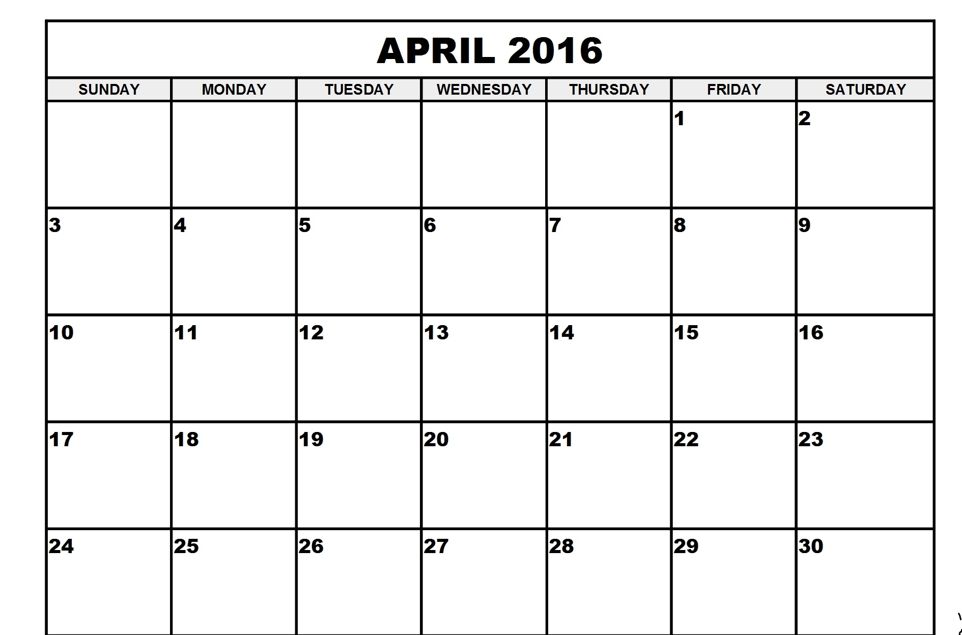 April Calendar Printable 2016 Printable Calendar Templates