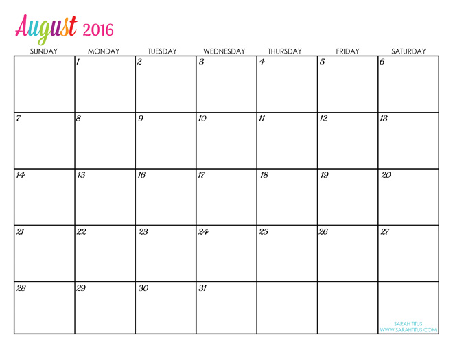 August 2016 Printable Calendar | Blank Templates | Printable Calendar ...