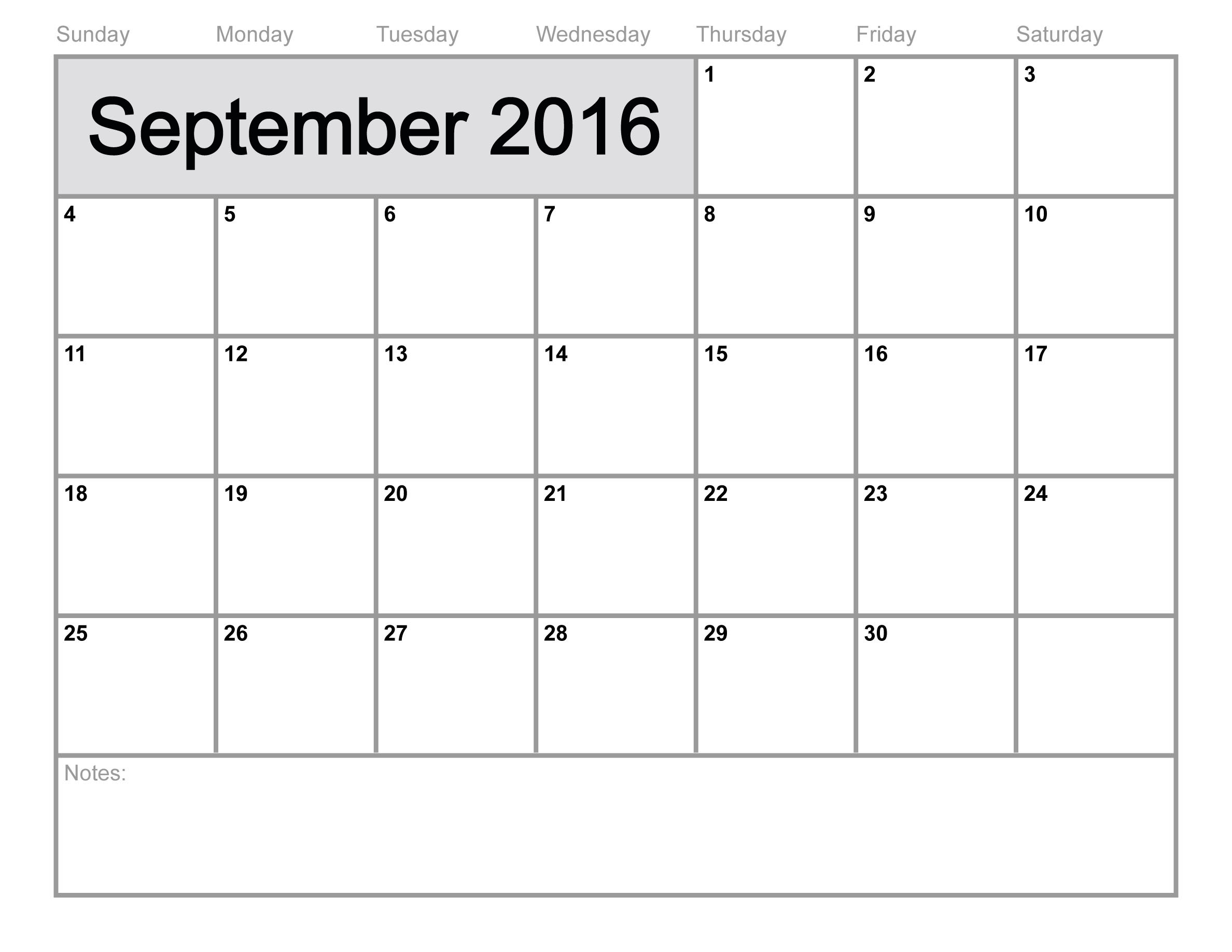 September 2016 Printable calendar | Blank Templates | Printable …