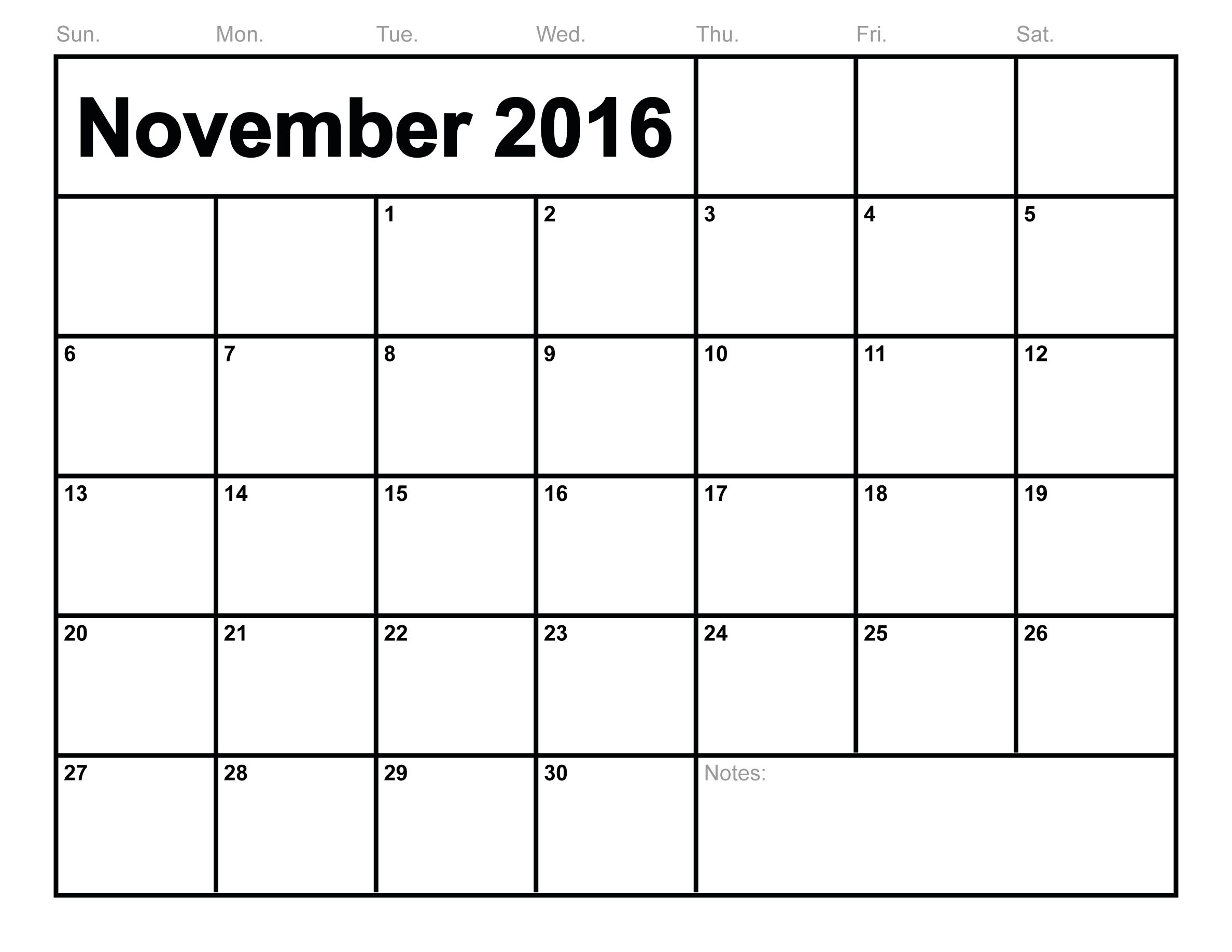 November Monthly Calendar : November printable calendar