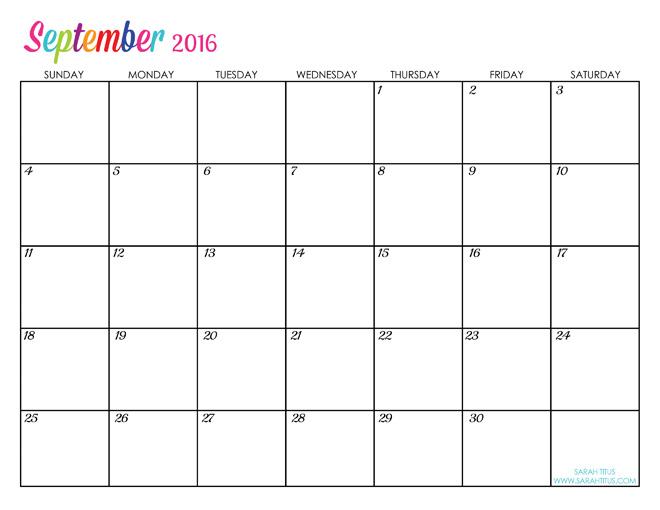 September 2016 Calendar Printable | 2017 calendar with holidays