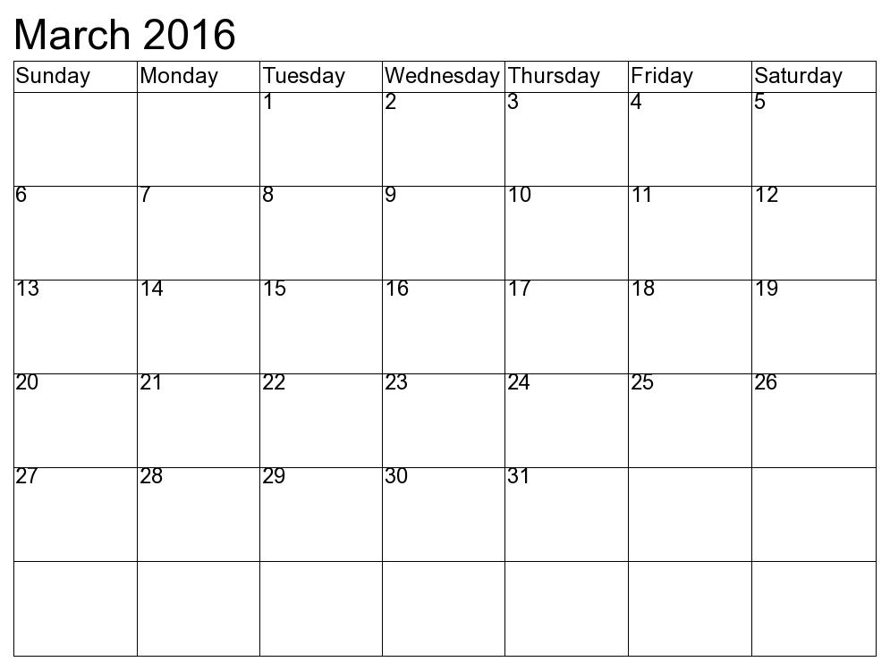 March 2016 Blank Calendar