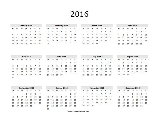 Free Printable calendars 2016 | Printable Calendar Templates