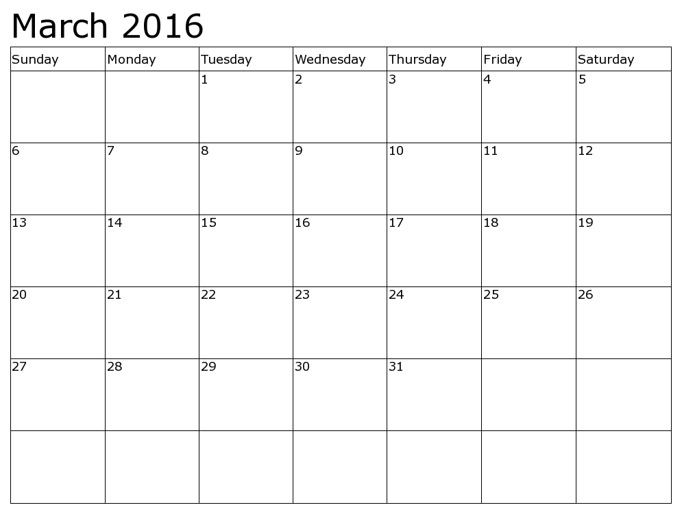 Printable calendar for March 2016