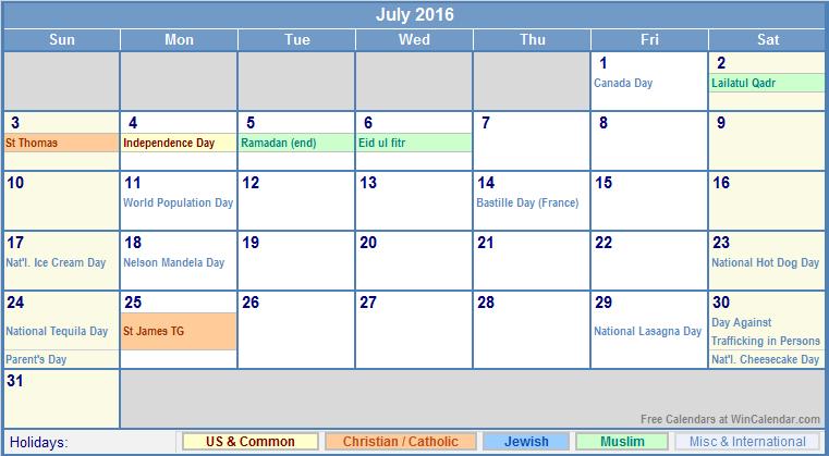 Blank Calendar Events : July calendar events