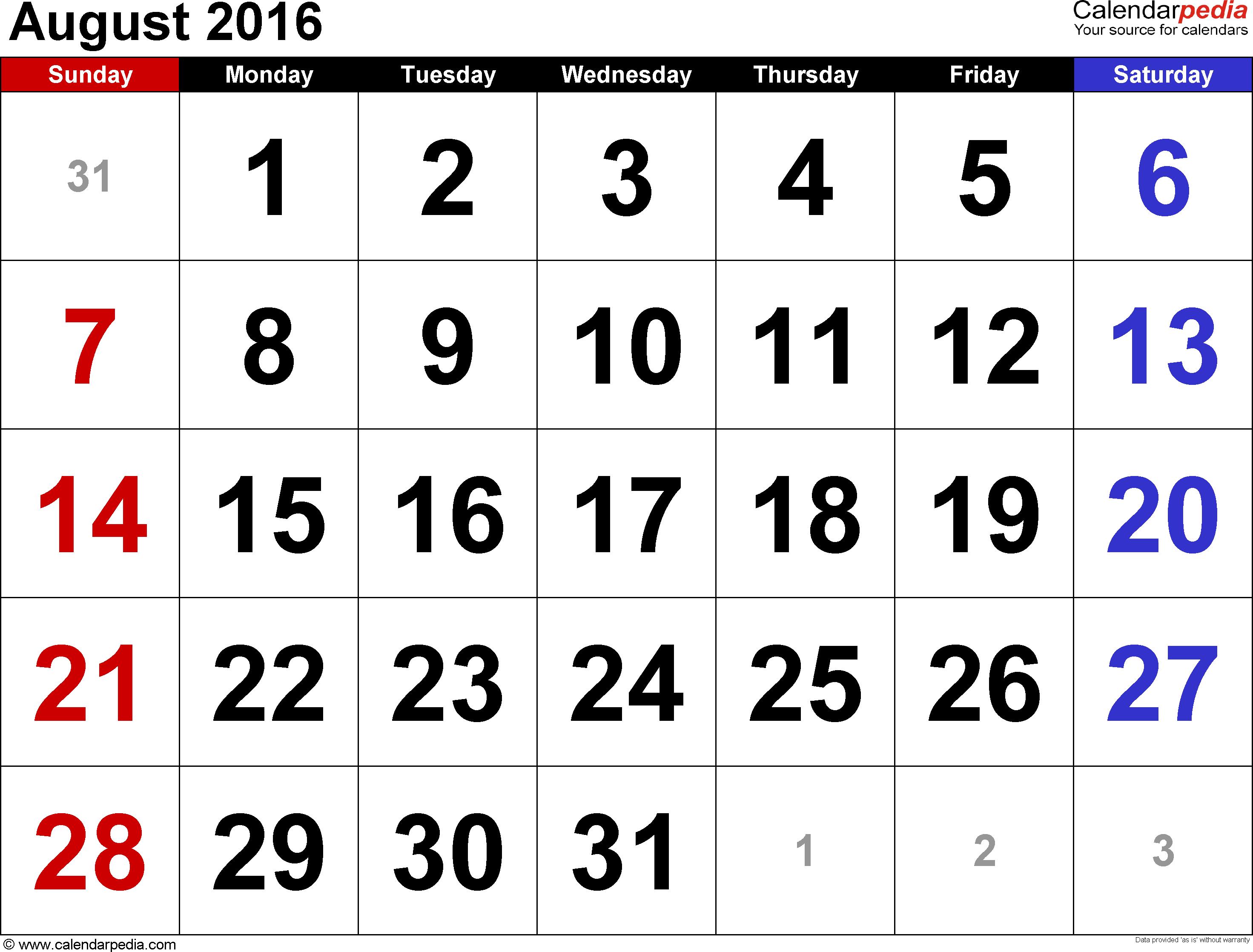 august 2016 printable calendar blank templates printable calendar templates. Black Bedroom Furniture Sets. Home Design Ideas