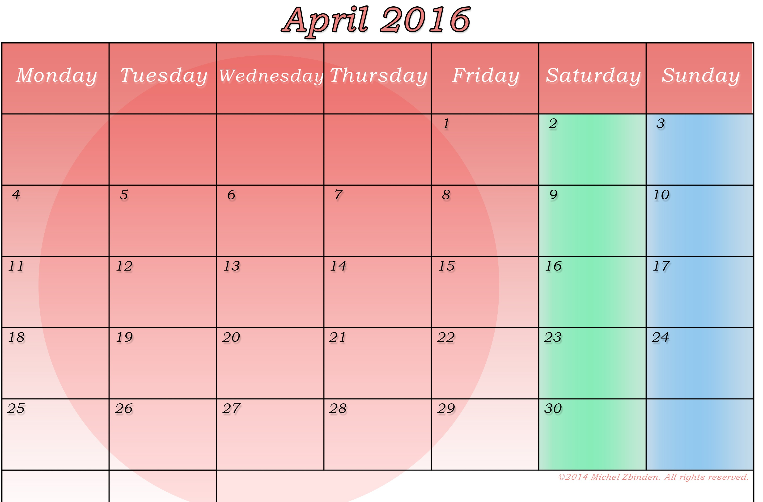 Calendar Craze April : April printable calendar templates