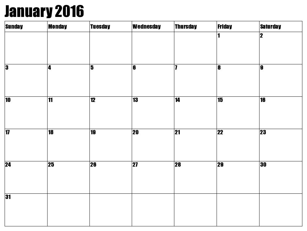 January calendar printable 2016