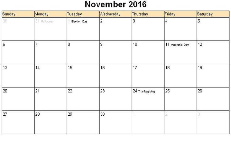 November Calendar 2016 Printable : November printable calendar