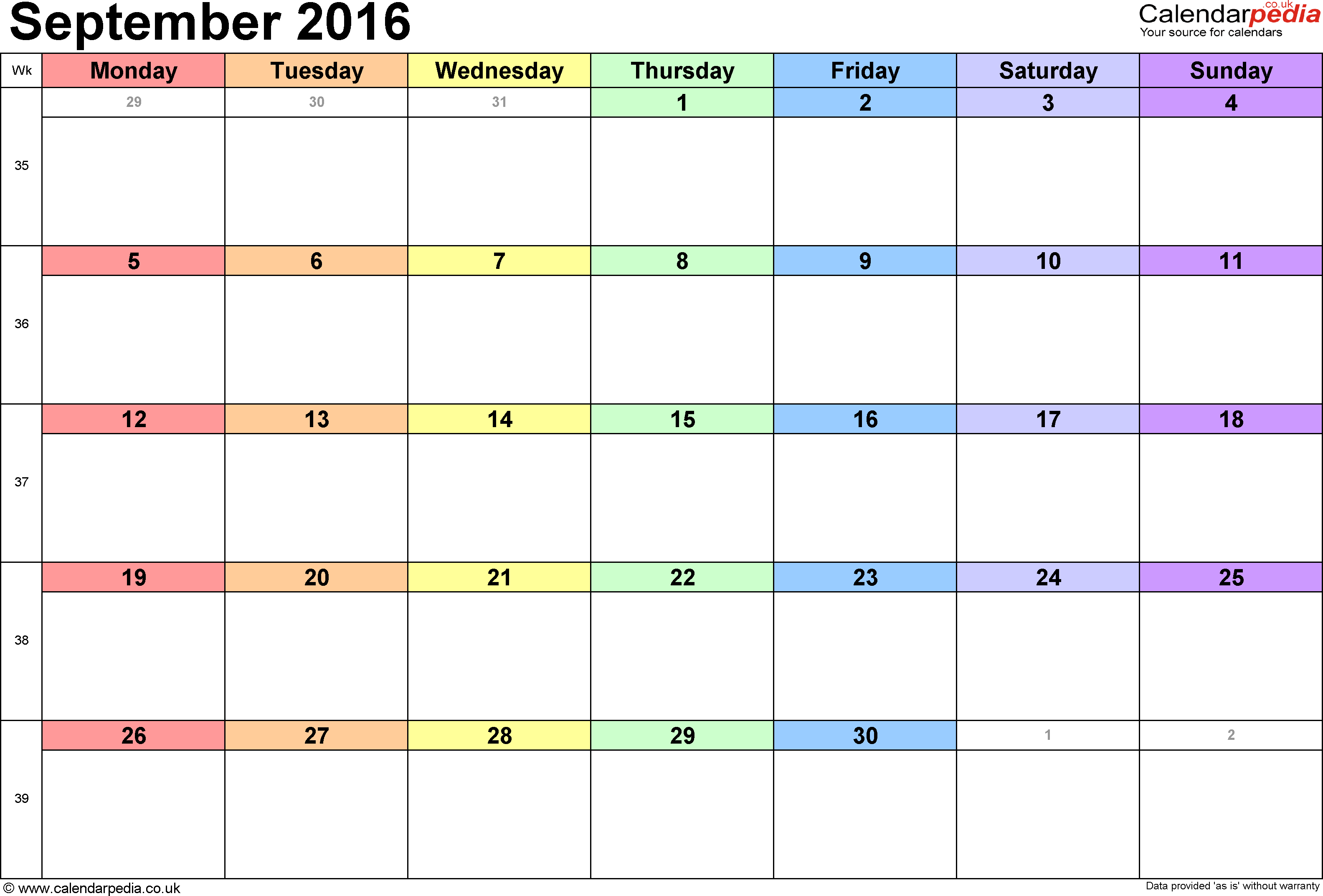 September 2016 Printable calendar | Blank Templates | Printable ...