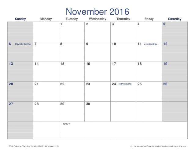 Free Printable Calendar November 2016 | Printable Calendar Templates