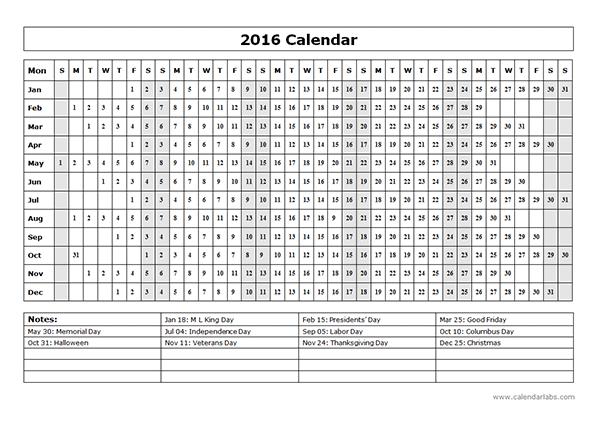Printable Monthly Calendar 2016 | Printable Calendar Templates