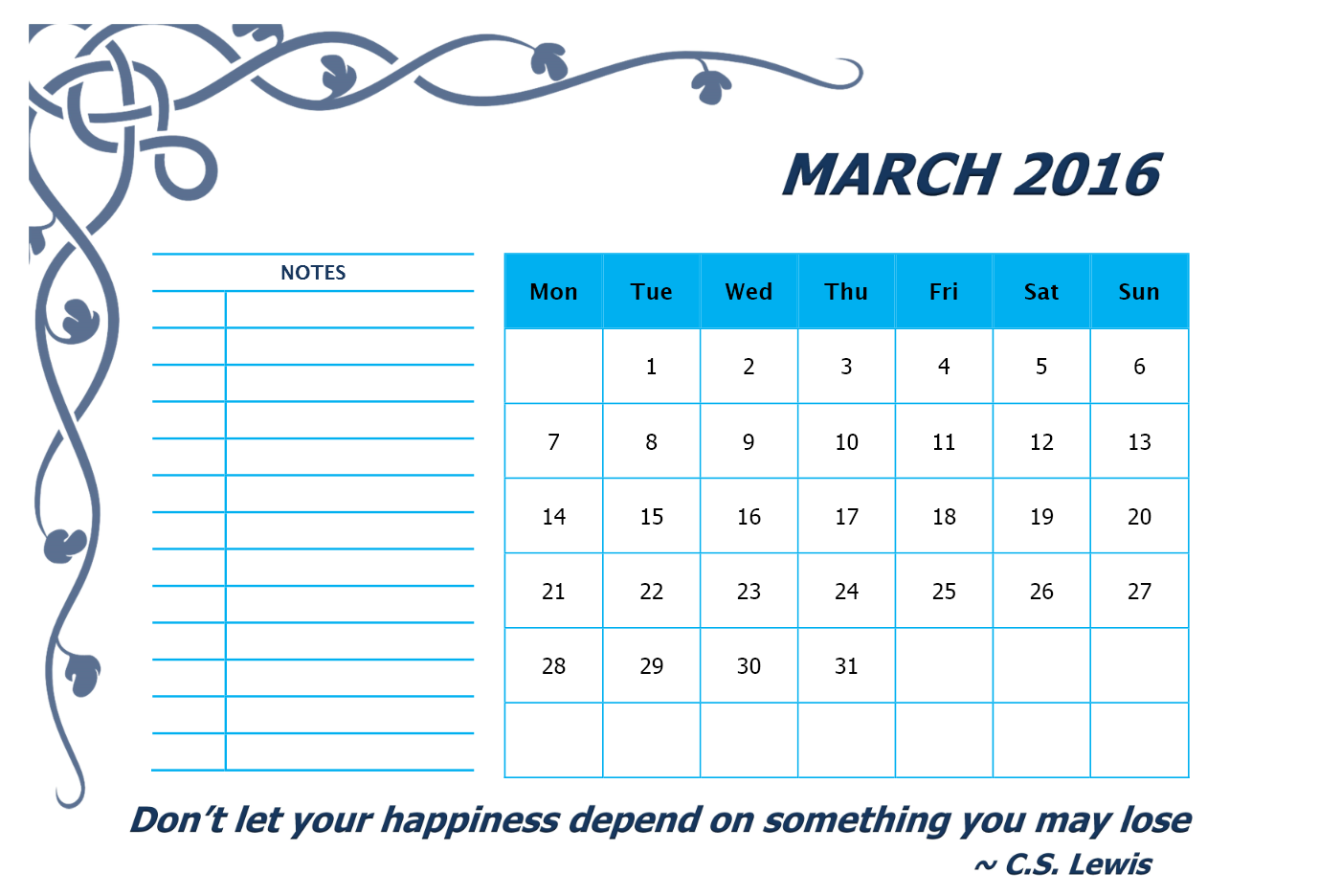 Printable Free calendar for March Month 2016, Free Printable calendar ...