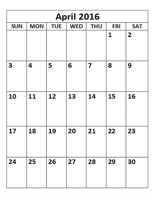 April 2016 Printable Calendar A4