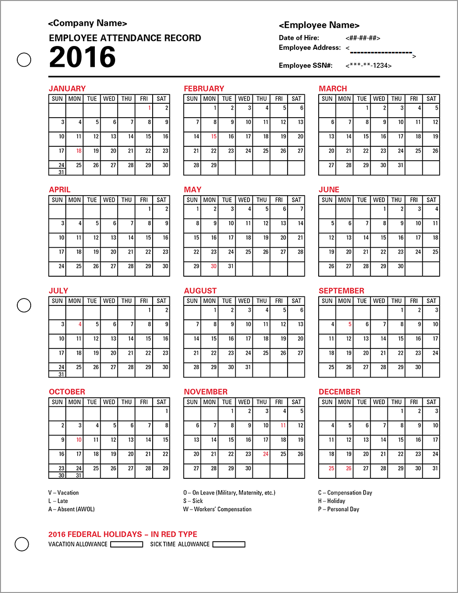 ... 2016, Employee Attendance Templates 2016, Printable Employee