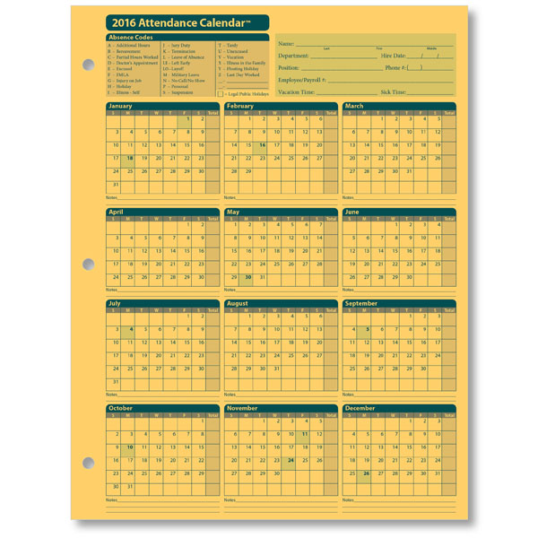 Employee Attendance Calendar Tracker Templates 2016 – Sample Attendance Tracking