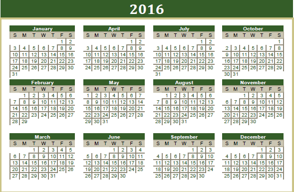 Ramadan Eid 2016 Calendar