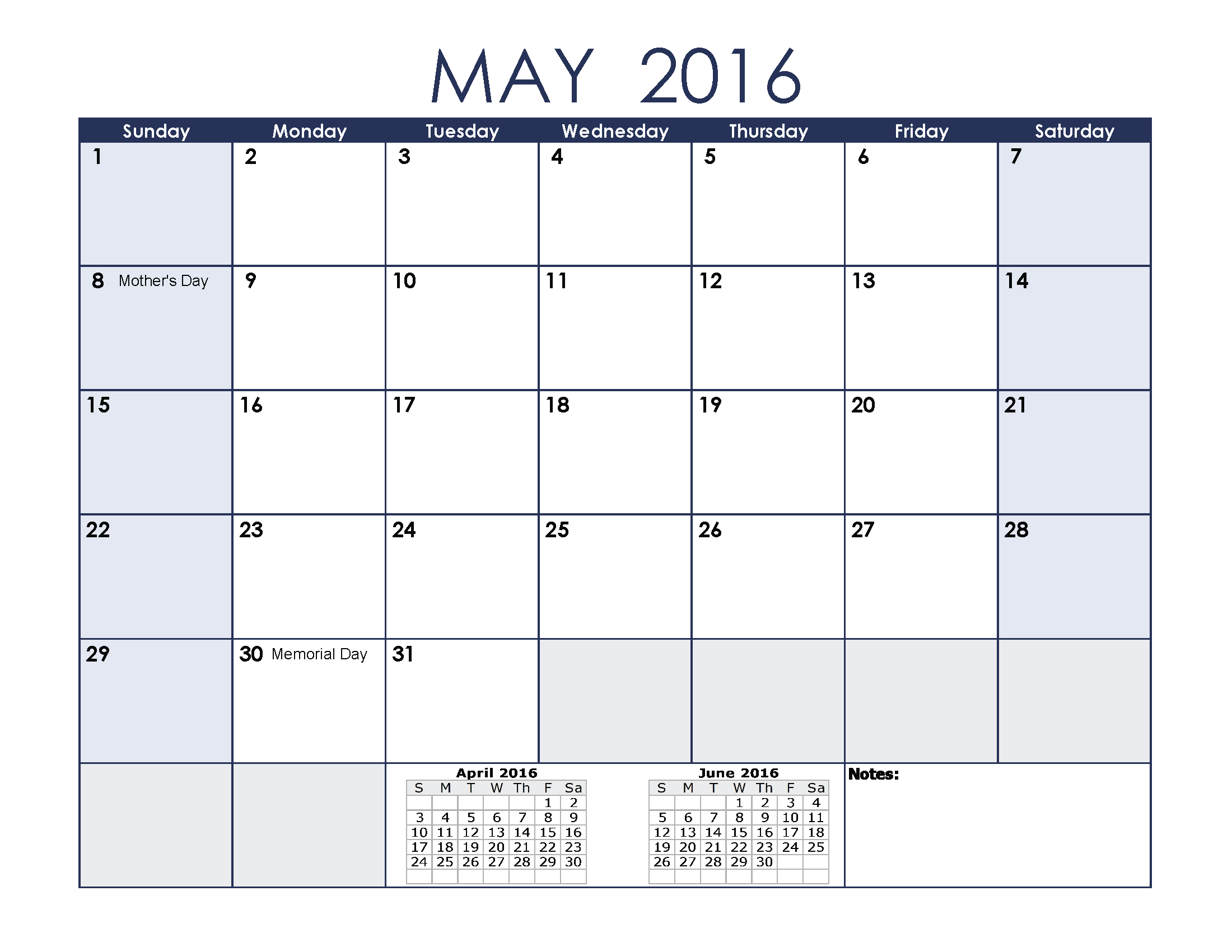 May 2016 Calendar with Holidays[USA, UK, Canada ...