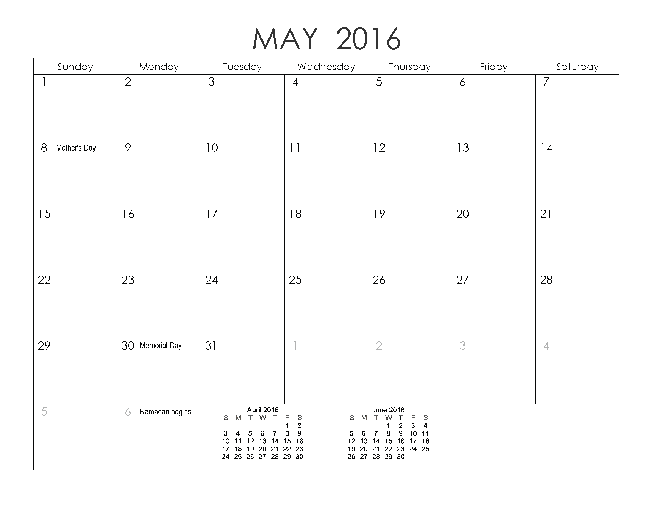 may 2016 blank templates pdf word excel printable calendar templates. Black Bedroom Furniture Sets. Home Design Ideas