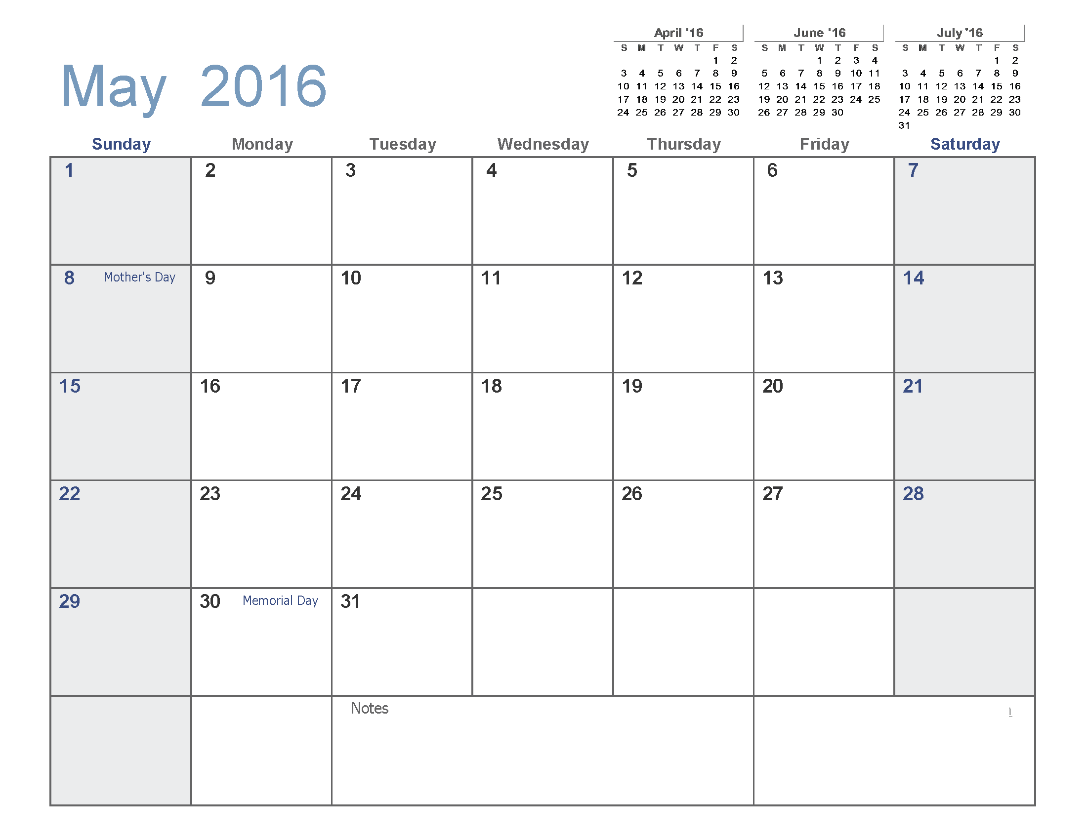 May 2016 Printable Calendar [PDF | Word | Excel] | Printable ...