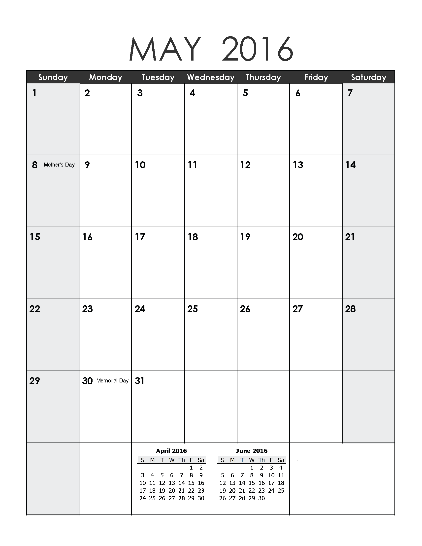 May 2016 Printable Calendar landscape, May 2016 Printable A4 Templates ...