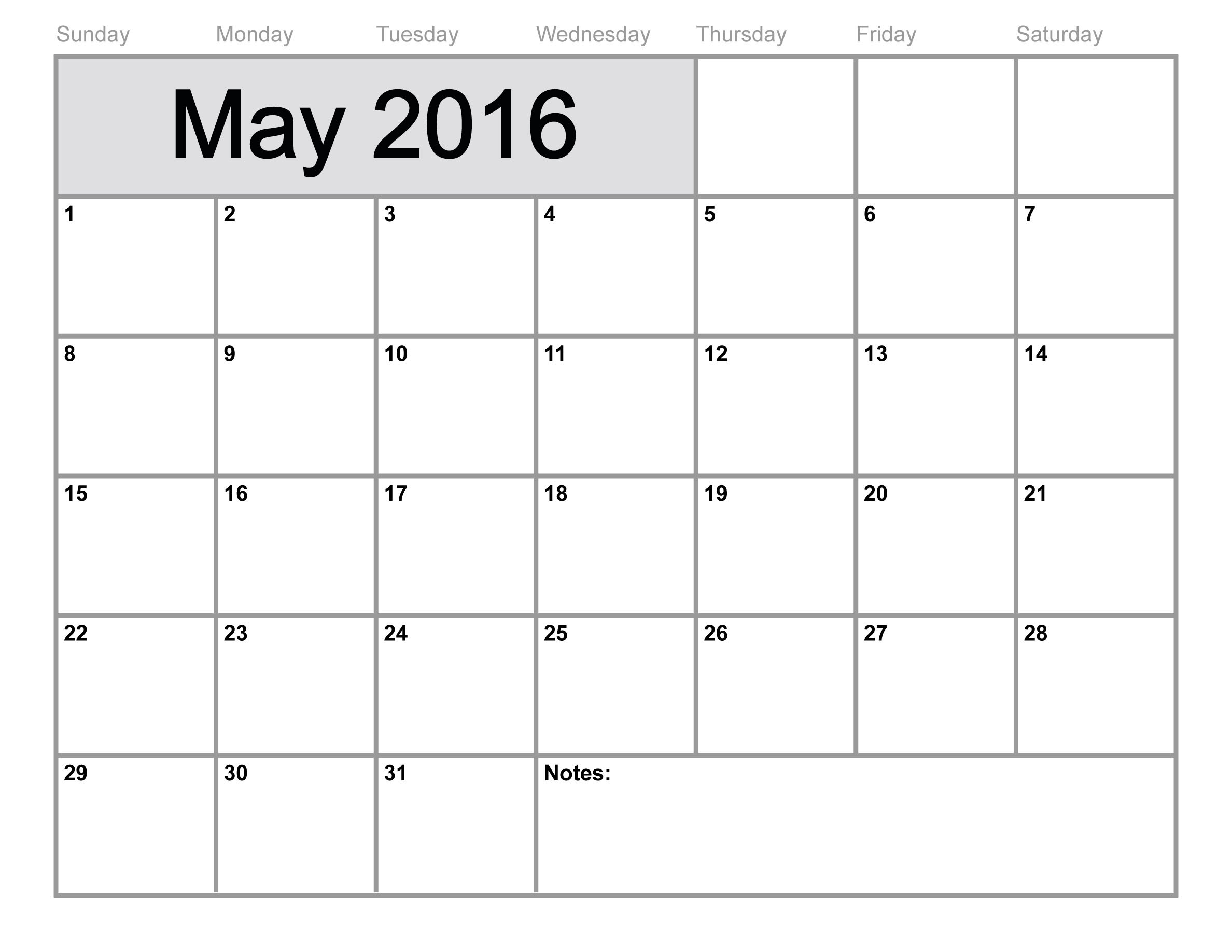 May 2016 Printable Calendar PDF Word Excel – Calendar Templates in Word