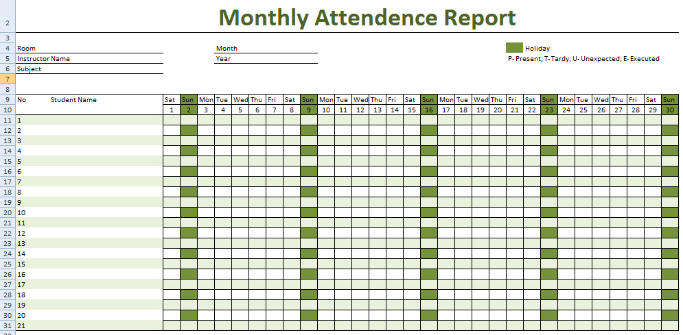 Attendance Sheet for Employees Excel 2016 – Printable Attendance Sheet