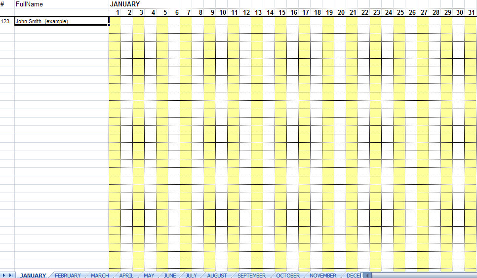 Attendance Sheet for Employees Excel 2016 | Printable Calendar ...