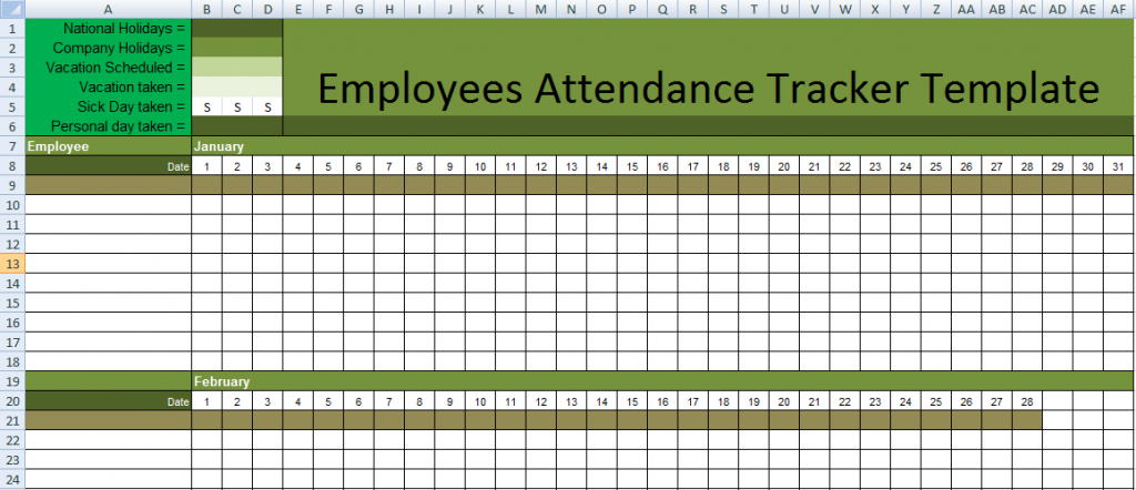 employee attendance sheet template