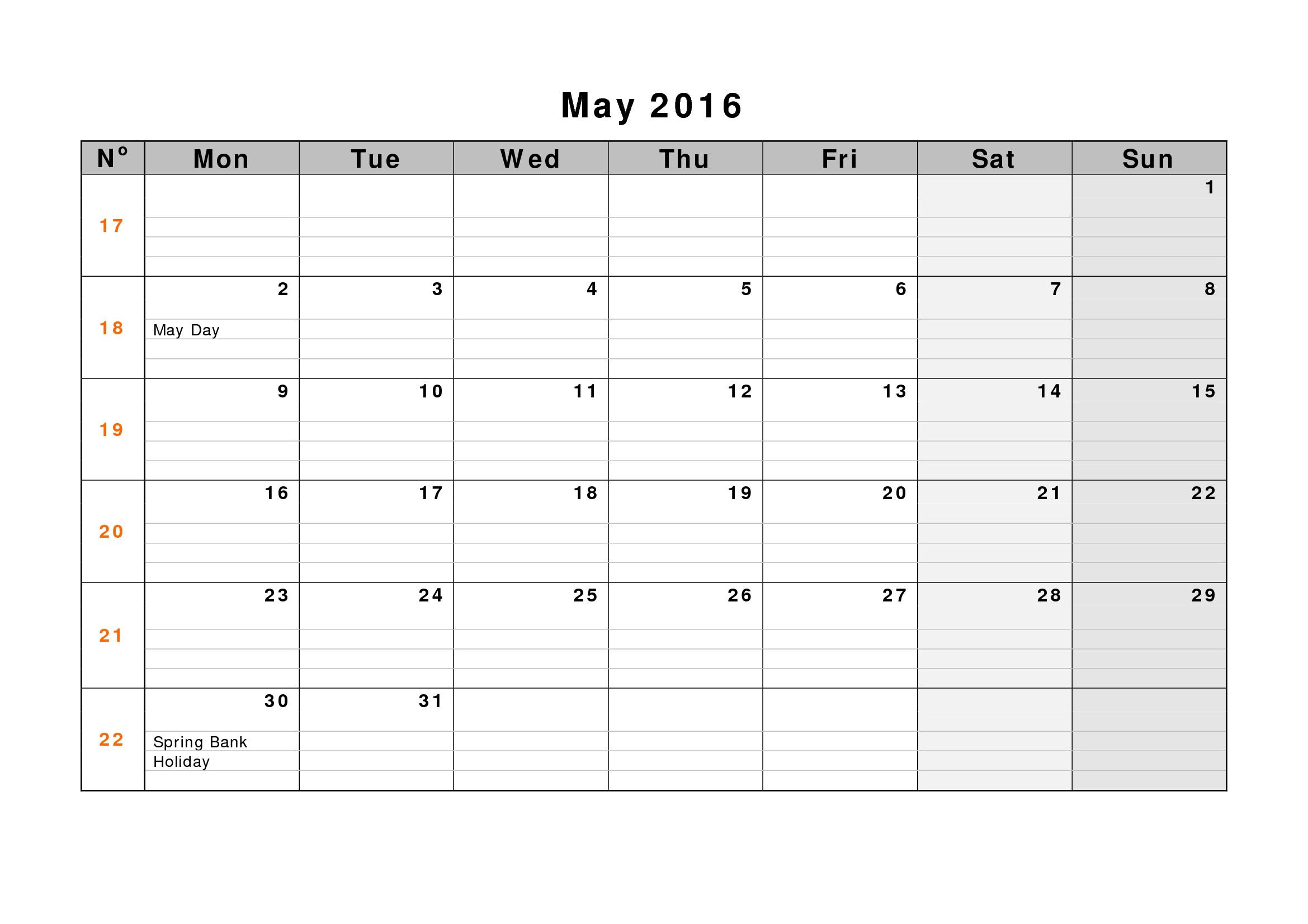 May 2017 Weekly Printable Calendar | Blank Templates ...