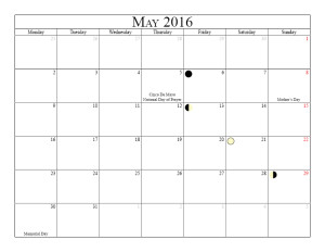 Moon Phases May 2016 Calendar | Moon Schedule | Printable ...