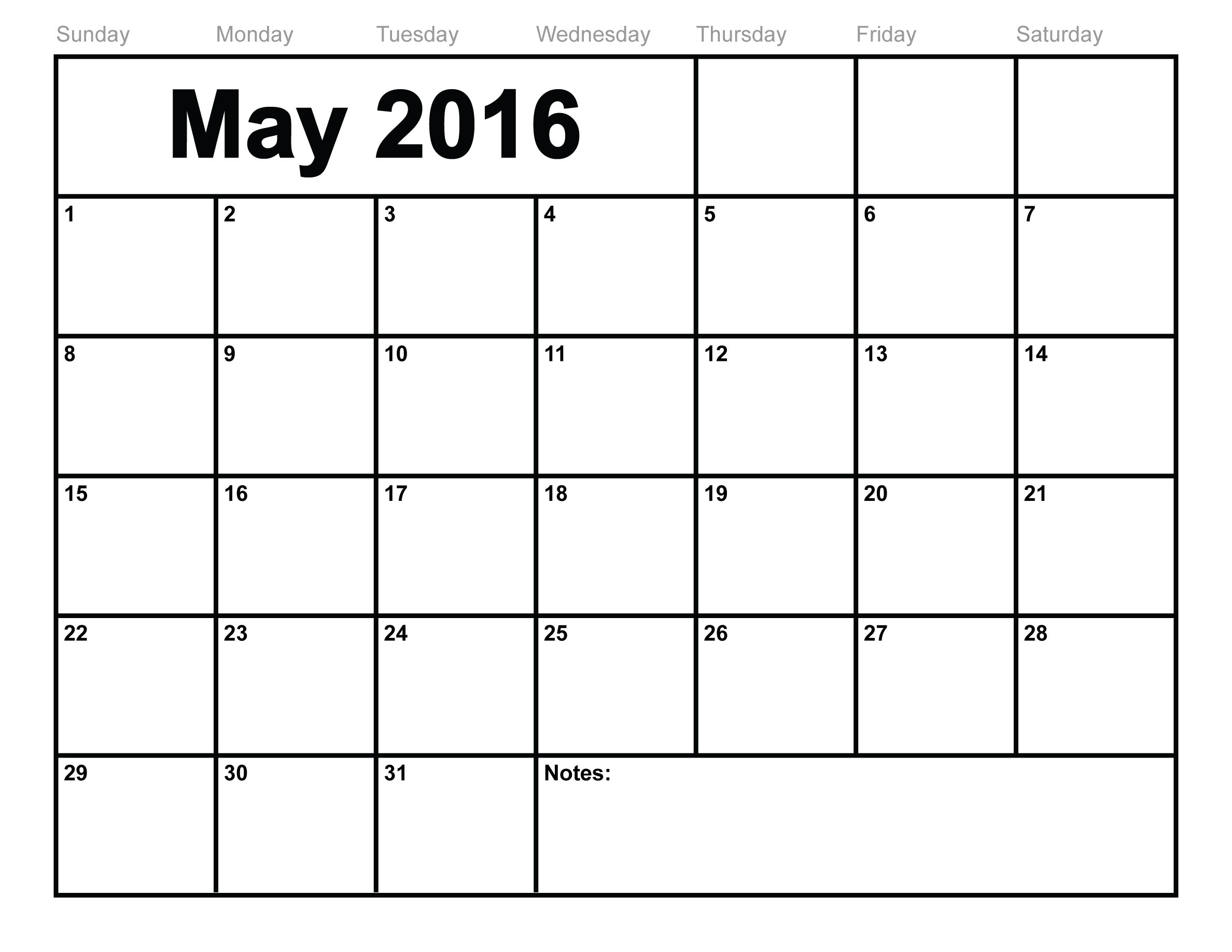 May 2016 Printable Calendar landscape, May 2016 Printable A4 Templates ...