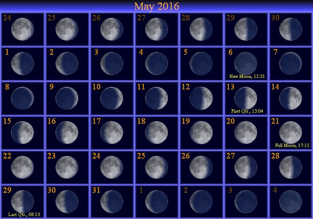 Calendar, Moon Schedule May 2016 Calendar, Moon Schedule Printable ...
