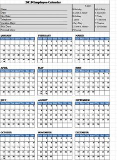 printable employee attendance calendar 2016 printable calendar templates. Black Bedroom Furniture Sets. Home Design Ideas