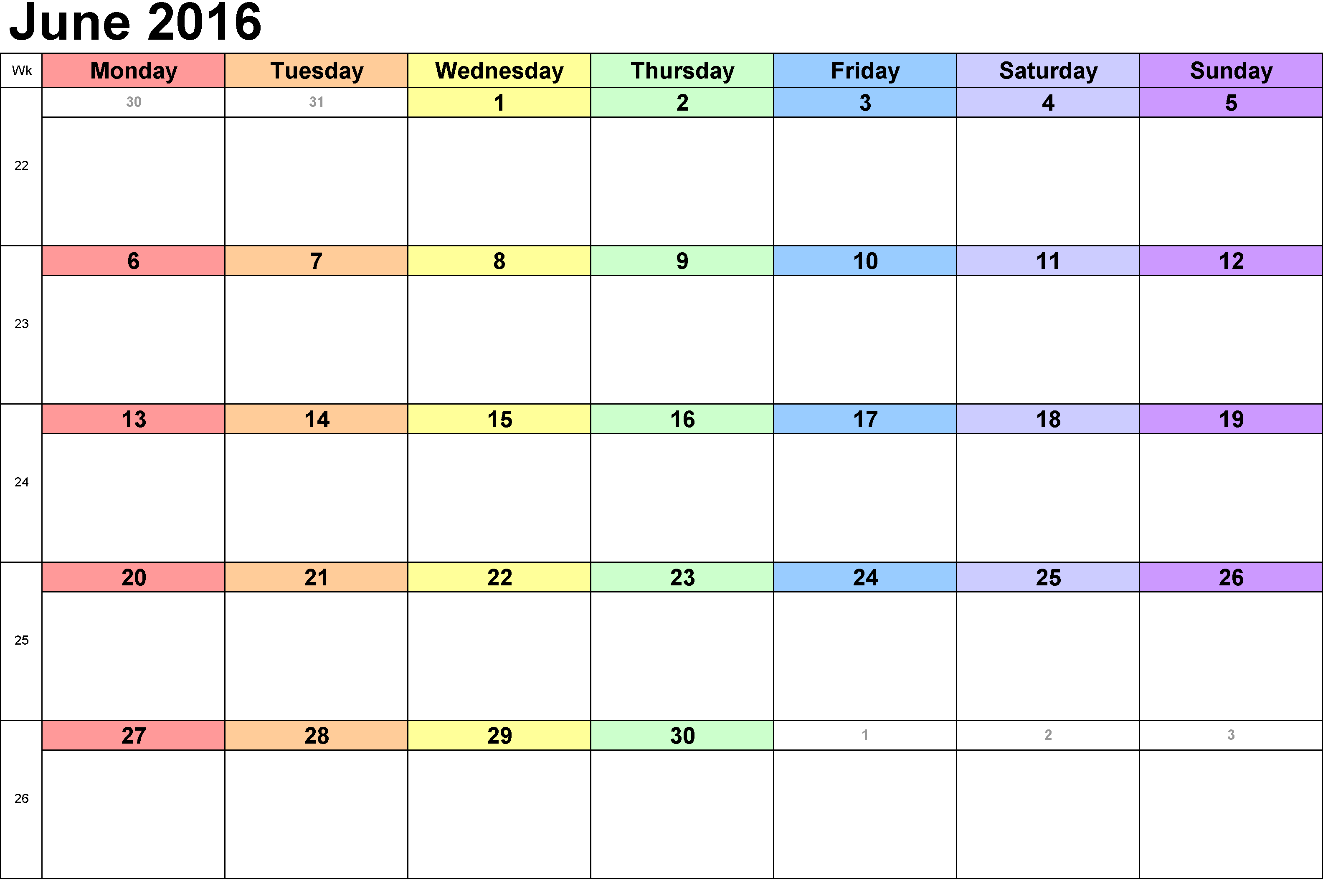 Calendar For June : June printable calendar blank templates