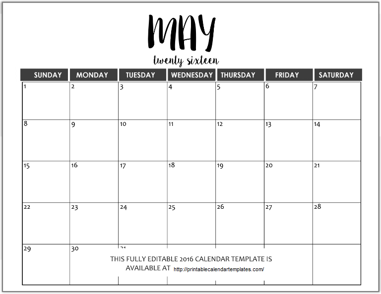 May 2017 Printable Calendar | Blank Templates | Printable ...