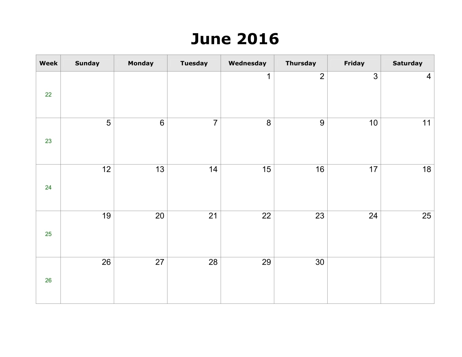 ... 2016 Calendar Templates A4, June 2016 Editable Templates Landscape