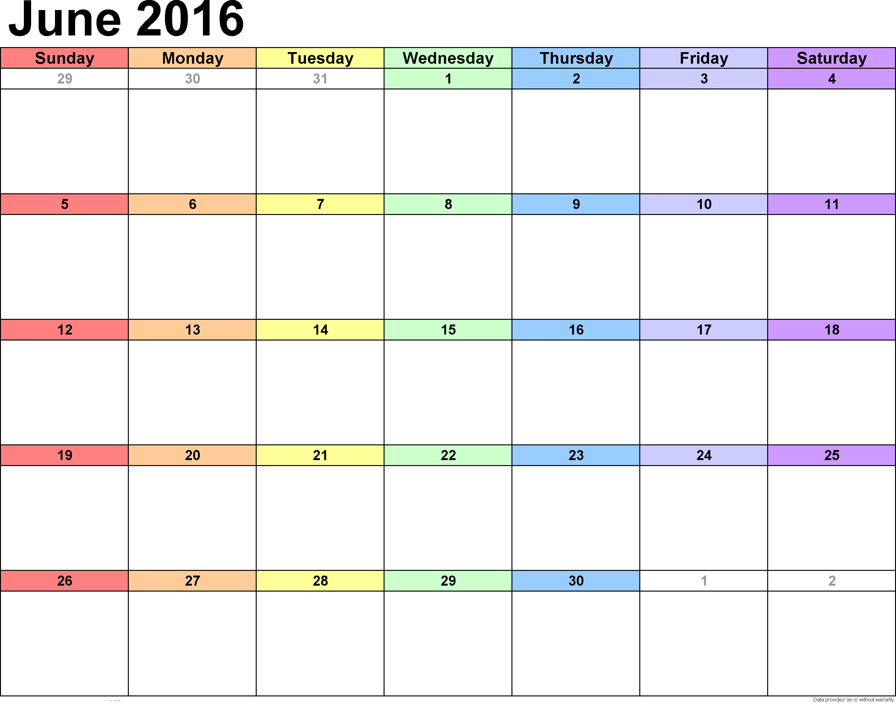 Weekly Calendar, June 2016 Weekly Calendar Printable, Weekly June 2016