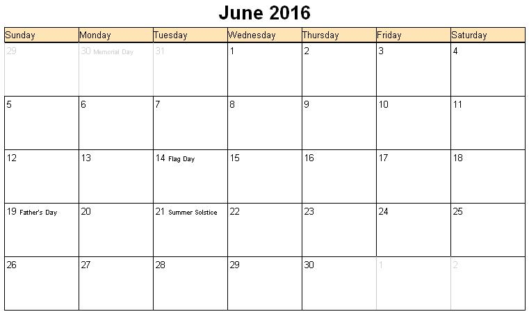 June 2016 Printable Calendar, June 2016 Blank Templates, June 2016 Blank Calendar, June 2016 Calendar Printable, June 2016 Calendar Templates, June 2016 Editable Templates, June 2016 Editable Calendar