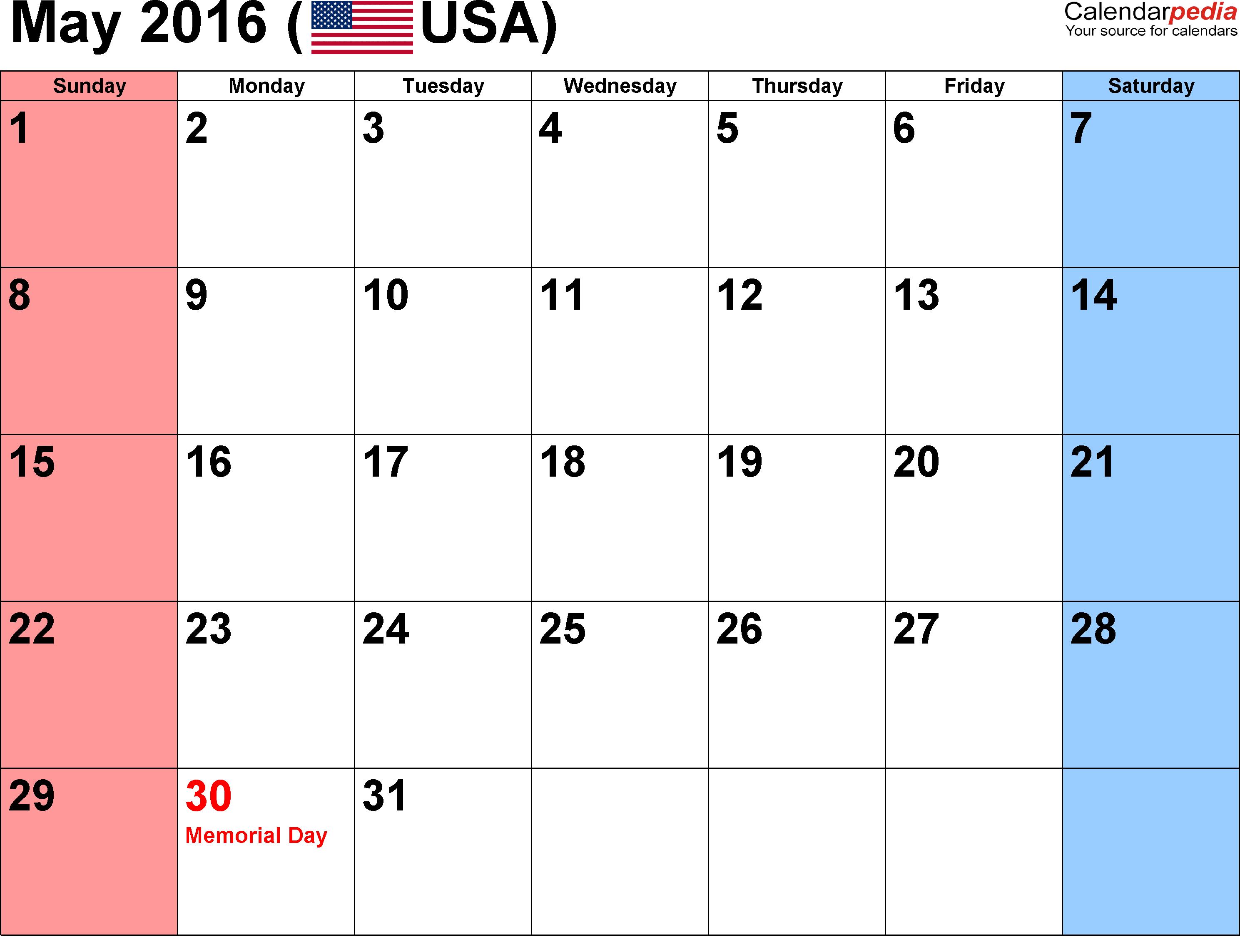 Calendar, May 2016 Weekly Blank Templates, May 2016 Weekly Calendar ...